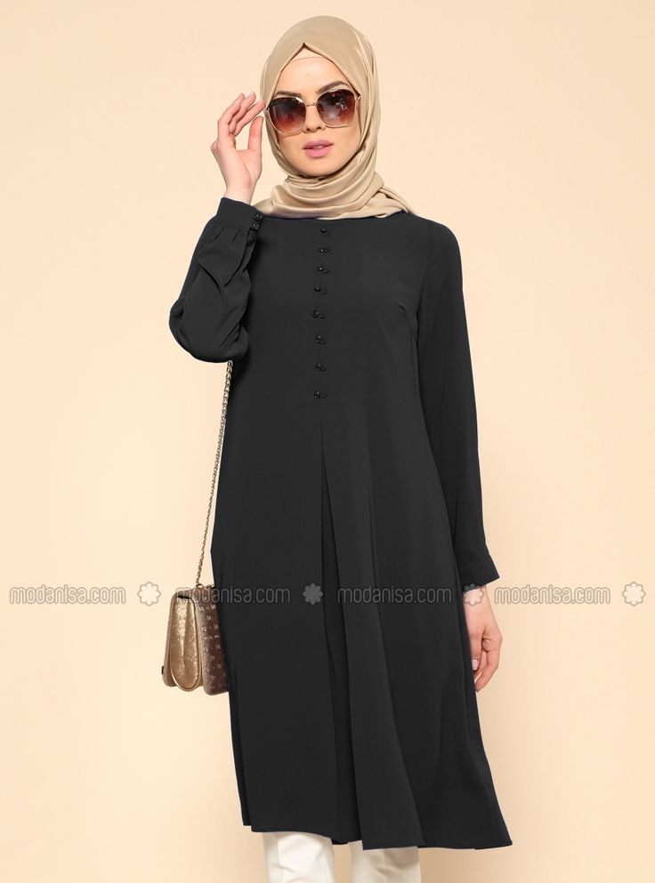 Shop Button Detail Tunic - Black in Tunics category. Modanisa your online muslim…