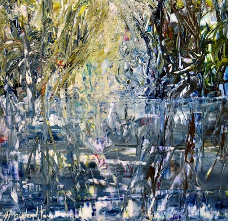 Light Beneath the Willow 12x12 inches ~ Acrylic on canvas painting by Hanna MacNaughtan
