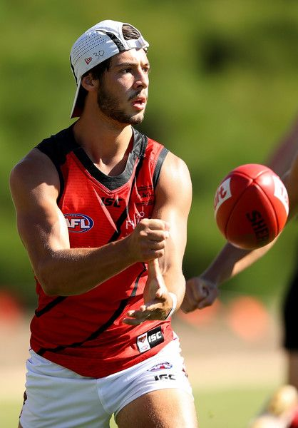Kyle Langford of the Bombers handballs during the Essendon Bombers AFL intra-club match at True Value Solar Centre on February 8, 2017 in Melbourne, Australia.
