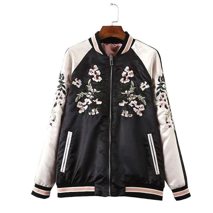 FLORAL EMBROIDERY SILK BOMBER JACKET
