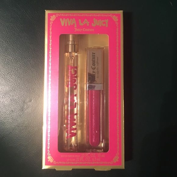 Viva La Juicy Perfume & Lip gloss set Brand New with tags - never opened or used - 100% authentic - Eau De Parfum Spray .33 FL OZ- Lip Gloss .22 FL OZ Juicy Couture Makeup Lip Balm & Gloss