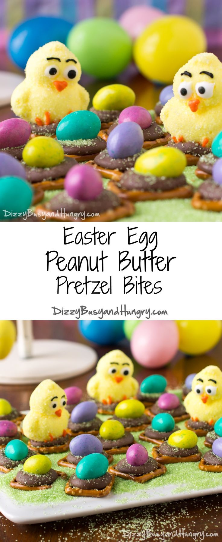 Easter Egg Peanut Butter Pretzel Bites   DizzyBusyandHungry.com - Cute and easy Easter treat that will delight kids and adults alike! #easter #recipes #desserts #eastereggs