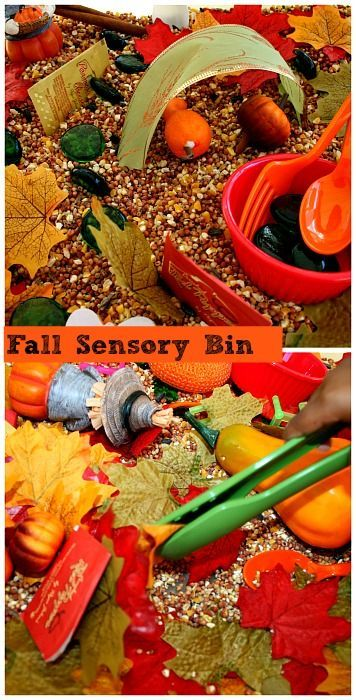 Fall sensory bin with non-food fillers.                                                                                                                                                                                 More