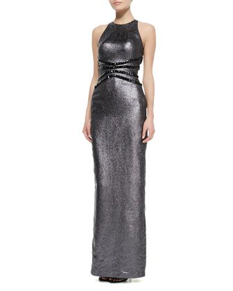 Liquid Lame Halter Gown with Studded Waist by Pamella Roland at Bergdorf Goodman.