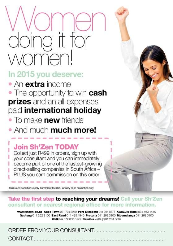 Become a consultant in January. Just get an order for R499 and receive commission immediately.