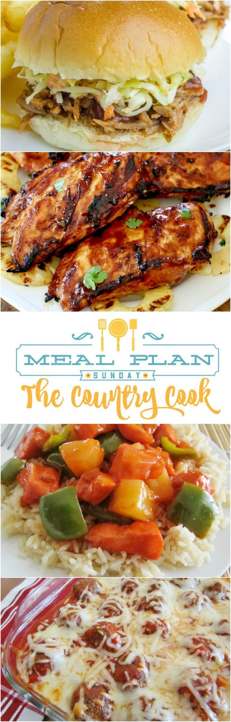 Meal Plan Sunday recipes include: Baked Sweet and Sour Chicken, Meatball Sub Casserole, Crock Pot Pulled Pork, Grilled Hawaiian BBQ Chicken, Mississippi Pot Roast, 7Up Cake and more!