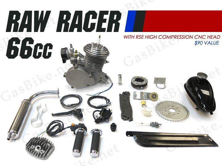 Raw Racer 66cc/80cc Slant Head Bicycle Engine Kit (Standard Finish) Gasoline operated products are NOT compliant with Environmental Protection Agency ( E.P.A. )