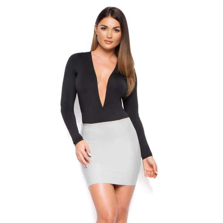 Grey Leatherette Mini skirt with Zip on Back - Main Image