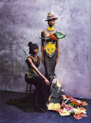 Massai inspired corset.  Galliano's debut Haute Couture collection for Dior 1997. Christian Dior Haute Couture S/S 97 Paris.  [CORRECTION:  I misidentified the inspiration at Massai - its actually based on beaded corsets worn by the Dinka people who come from the Nile basin. http://bit.ly/dinka_corset]    [MORE:http://pinterest.com/pin/39296067/  http://pinterest.com/pin/26773791 http://pinterest.com/pin/26774073 http://pinterest.com/pin/26777780]               #dior  #africa #beads #couture #galliano #corset #gown