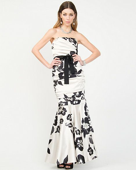 Stretch+Satin+Floral+Mermaid+Gown