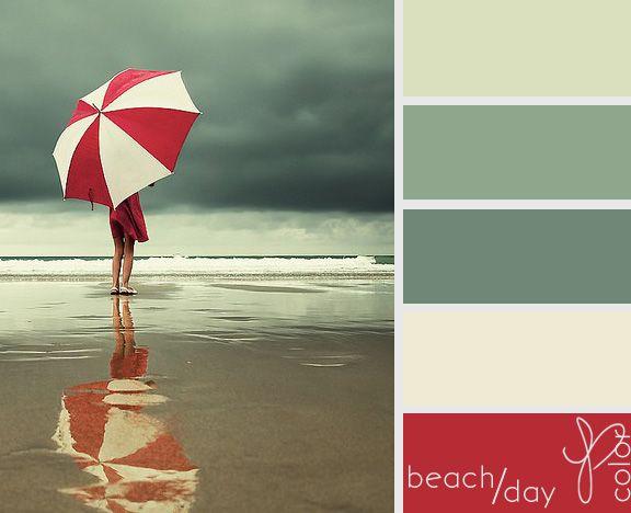 Option 2. Dark green accent wall, cream walls, cream chairs, red pillows, pale green curtains.