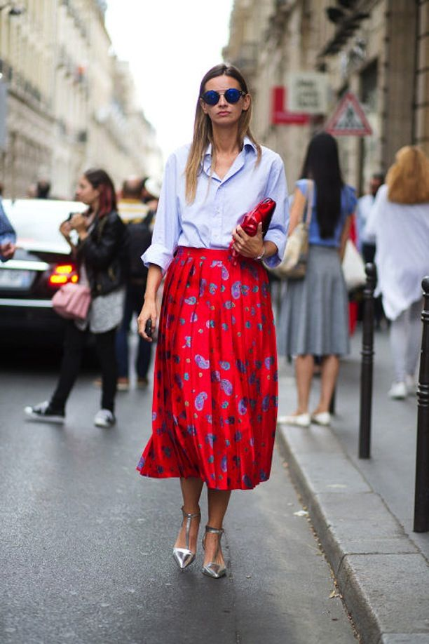 blue oxford button down femmed up with red pleated floral midi skirt