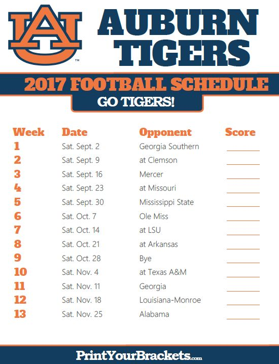 Printable Aubur Tigers Football Schedule