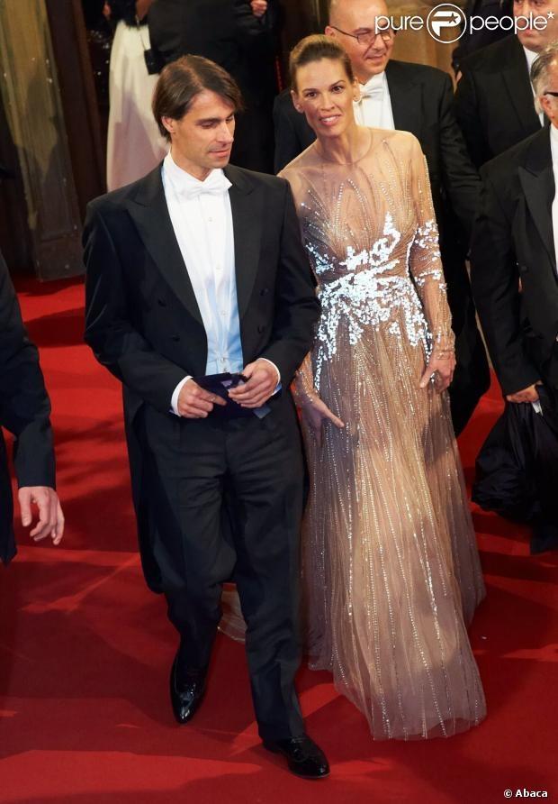 Hilary Swank et son compagnon à la 57e édition du Bal de l'Opéra à Vienne, le 7 février 2013.