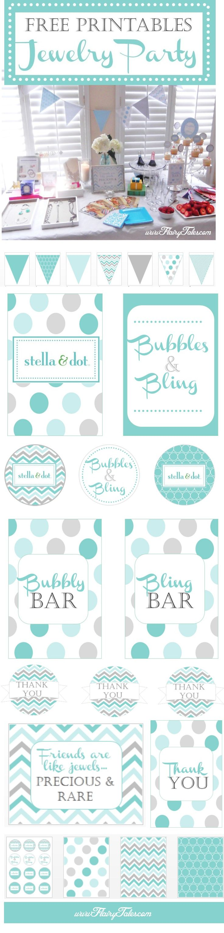 Free printables and ideas for hosting a jewelry party.  This was done for a Stella & Dot trunk!  www.flairytales.com