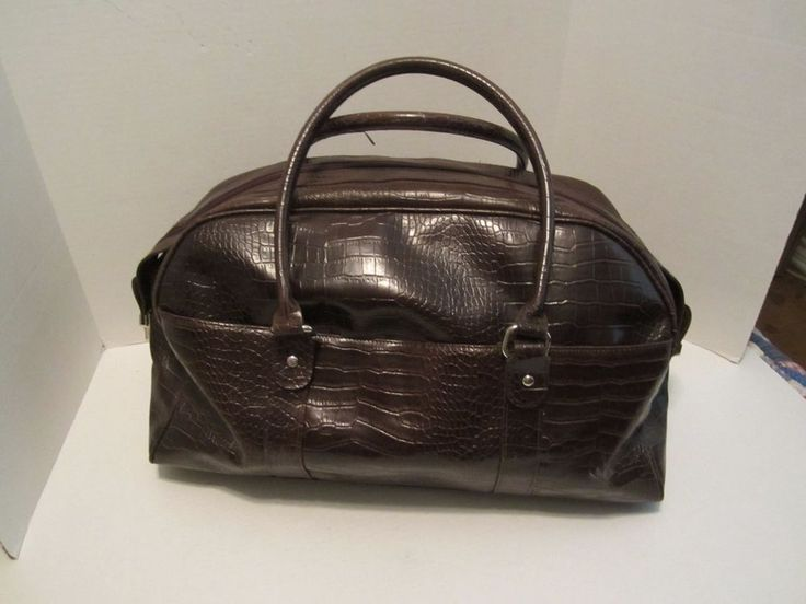 celine tie handbag - LARGE BATH AND BODY WORKS Brown FAUX CROC LUGGAGE/DUFFLE/Carry On ...