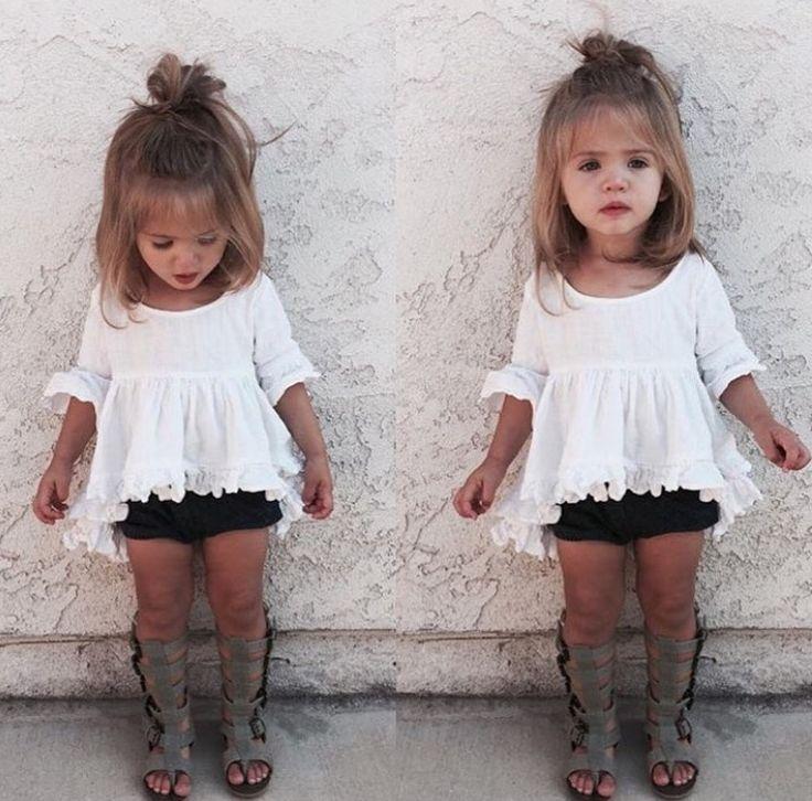 Cute baby bohemian style. Black Janie & jack top with orange bloomers & black gladiator sandals