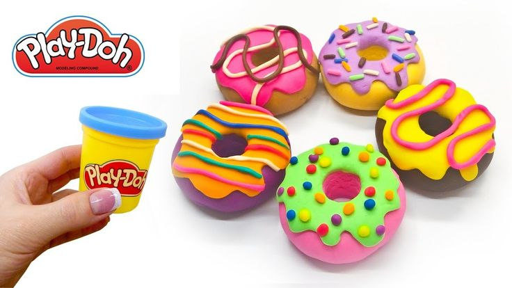 Play Doh Rainbow Donuts. How to make Toy Food out of Play Doh Clay DIY. ...