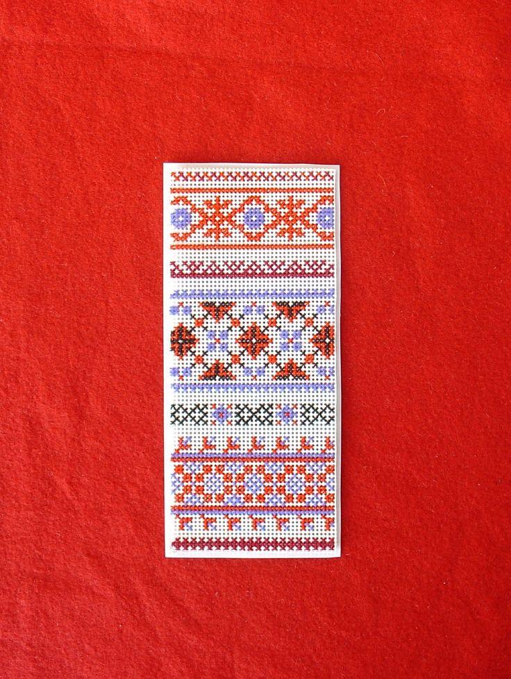 Russian Folk Ornament Sampler Cross Stitch Bookmark Border Red Blue Black White Embroidery Art 19th Century Style Slavic Geometric