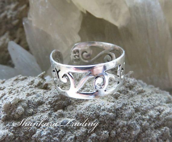 Silver Toe Ring, Ethnic Toe Ring, Silver Midi Ring, Tribal Toe Ring, Adjustable Ring, Boho Toe Ring, Indian Silver Toe Ring