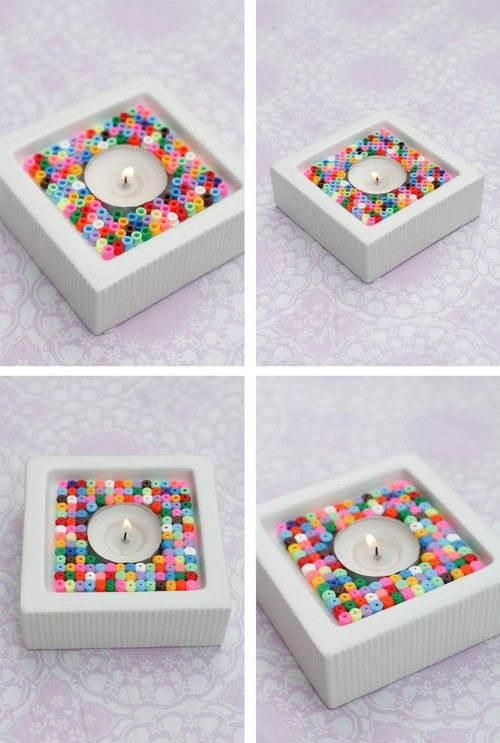Candle holder hama perler by ellas inspiration