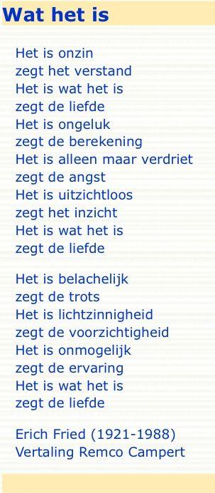Wat het is - Erich Fried, vertaling Remco Campert
