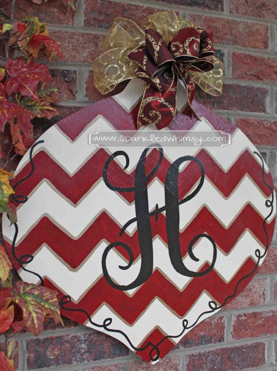 Monogrammed Chevron Ornament Christmas Door by Sparkled Whimsy  Ideas for Display: Front Door/Back Door Over Garage   Porch/Deck Party Decoration Birthday Gift or Decoration Hostess Gift Bridal Shower Gift Wedding Gift Engagement Gift Baby Shower Gift or Decoration Hospital Door Decoration Housewarming Gift Christmas Gift or Decoration Classroom Decoration Teacher Gift  Dorm Room Decoration