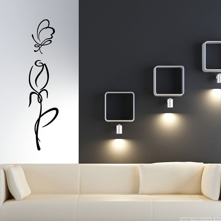 Tulip outline flower wall sticker.