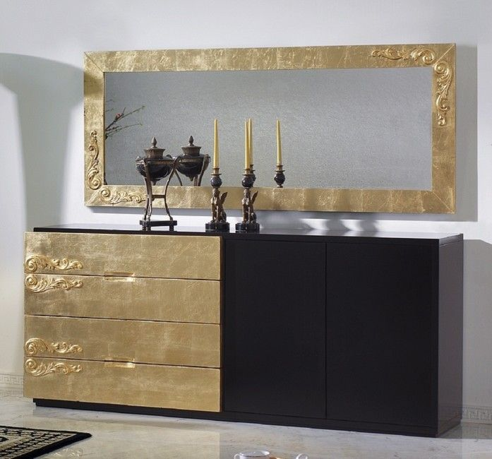 Luxus Carved Black And Gold Leaf Sideboard