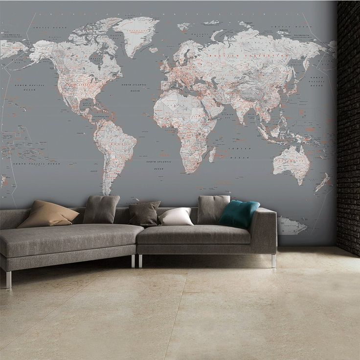 1Wall Detailed Silver Grey World Map Feature Wall Wallpaper Mural | 315cm X  232cm Part 36