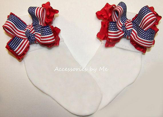 Frilly Patriotic #Bow #Socks USA Flag Red Ruffle Bows Baby Girls Toddler Accessory - for Little Miss #Pageants Military Appreciation July 4th Photo Portraits Prop - by accessoriesbyme on #Etsy