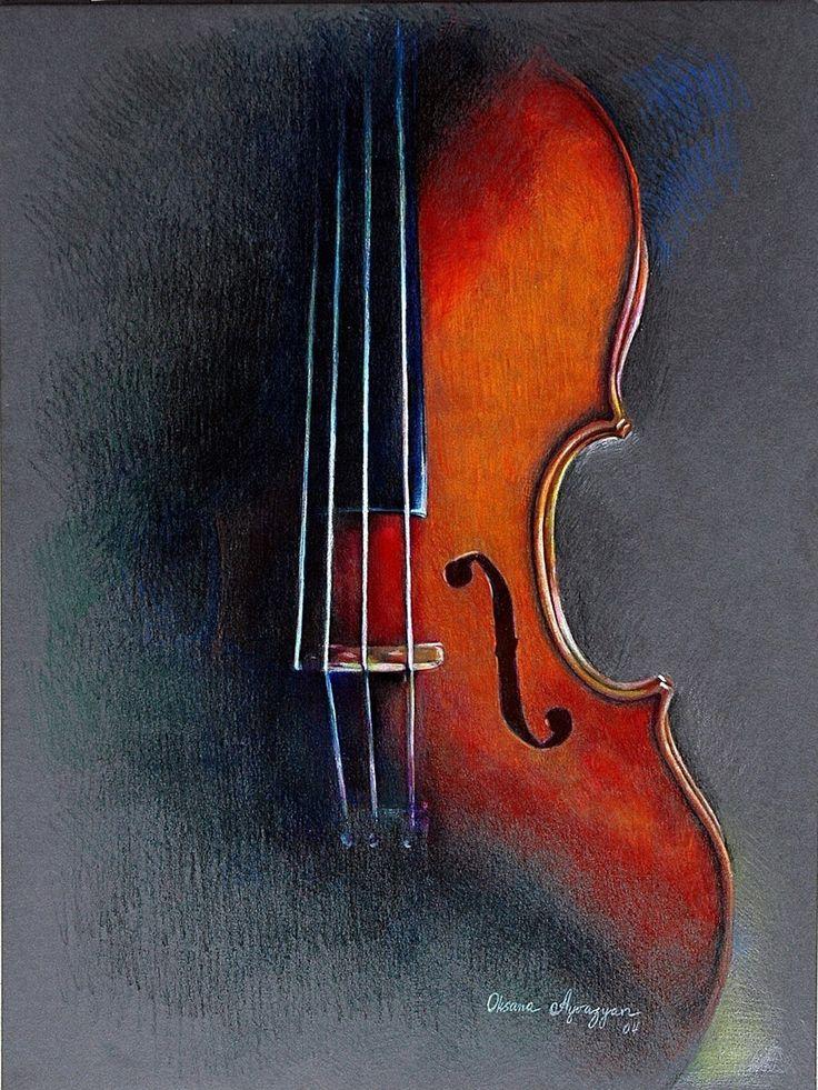 Violin. I drew it with Prismacolor soft pencils. colored pencil art