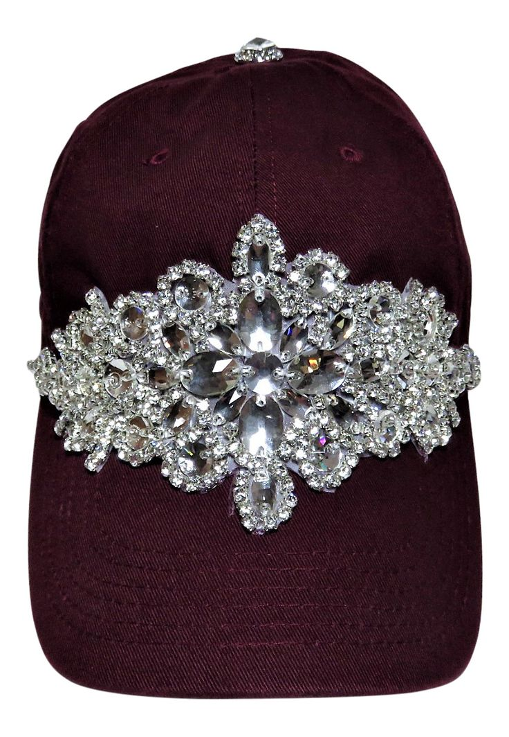 NEW! Bling Large Motif Burgundy Baseball Cap! Beautiful! Order now at www.shopspiritcaps.com!