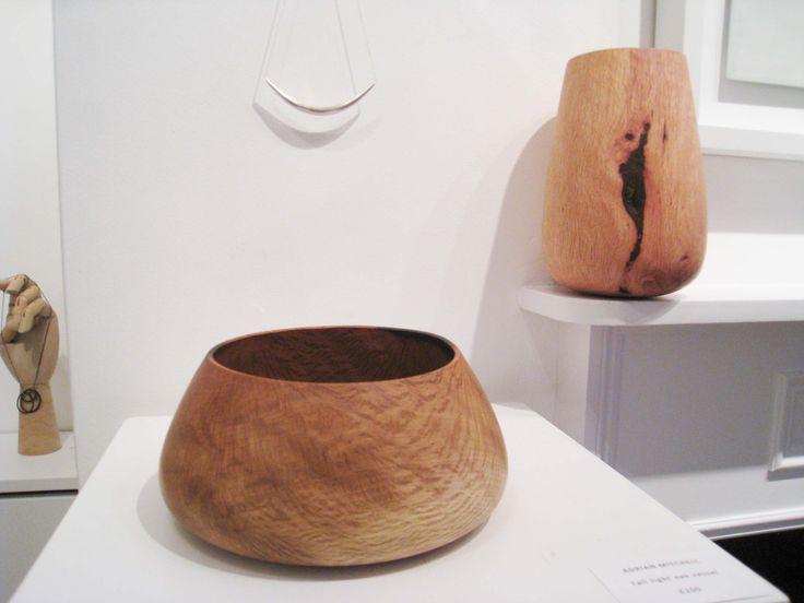 Adrian Mitchell, turned wooden vessels, oak