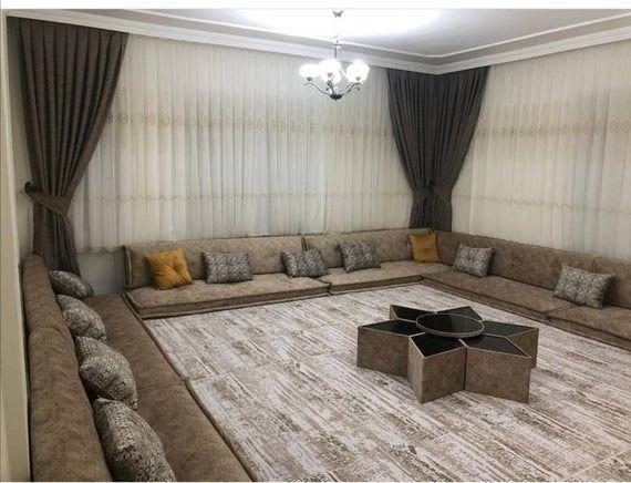 Gray Oriental Arabian Seating Set Floor Seating Living Room Living Room Design Decor Luxury Room Design