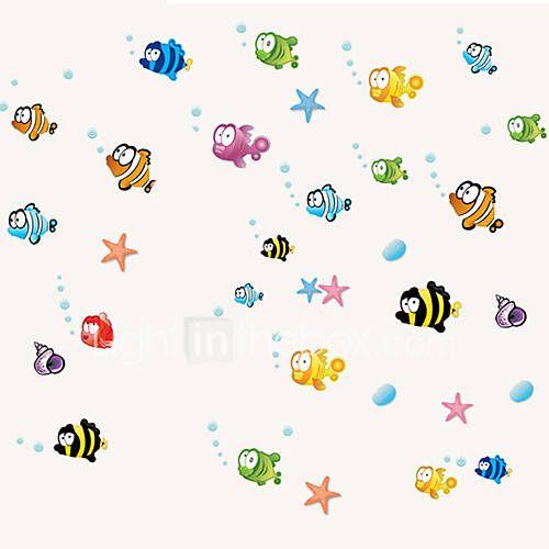 Children's Room 24 Fish Cartoon Wall Stickers Underwater World Wall Art Bigeye Fish Wall Decals DIY 5027218 2017 – $6.99