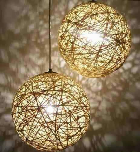 LA GUARIDA DE BAM: Bolas y lámparas con hilos