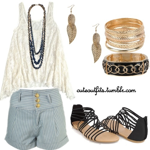 Cute high waisted shorts outfit