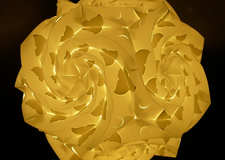 Spidron Rose, it's a Rose Shape Lamp with a lot of butterfly shadows. [Designer - Justy]  [Concept from http://www.spidron.hu]