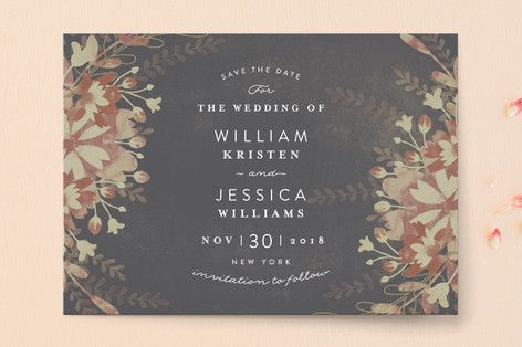 """Enchanting Plum"" - Floral & Botanical Save The Date Cards in Deep Plum by Phrosne Ras."