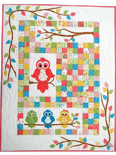 """A pretty baby quilt that's really a hoot!   Welcome any new baby into the world with this darling quilt featuring 4 little owls perched on pretty branches. Made using simple fusible applique, you'll have a finished quilt in no time -- especially since it's precut friendly! Finished quilt size is 42"""" x 54""""."""