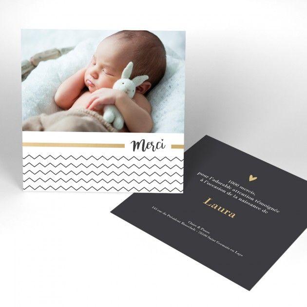 Cartes de remerciement naissance Classique / chic produit à personnaliser - page 1 - Naissance.fr