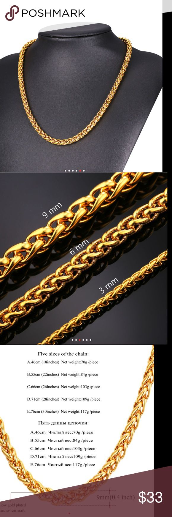 New 9mm 18k Gold Chain For Men Brand New Real 18k Gold Plated Chain Fit For