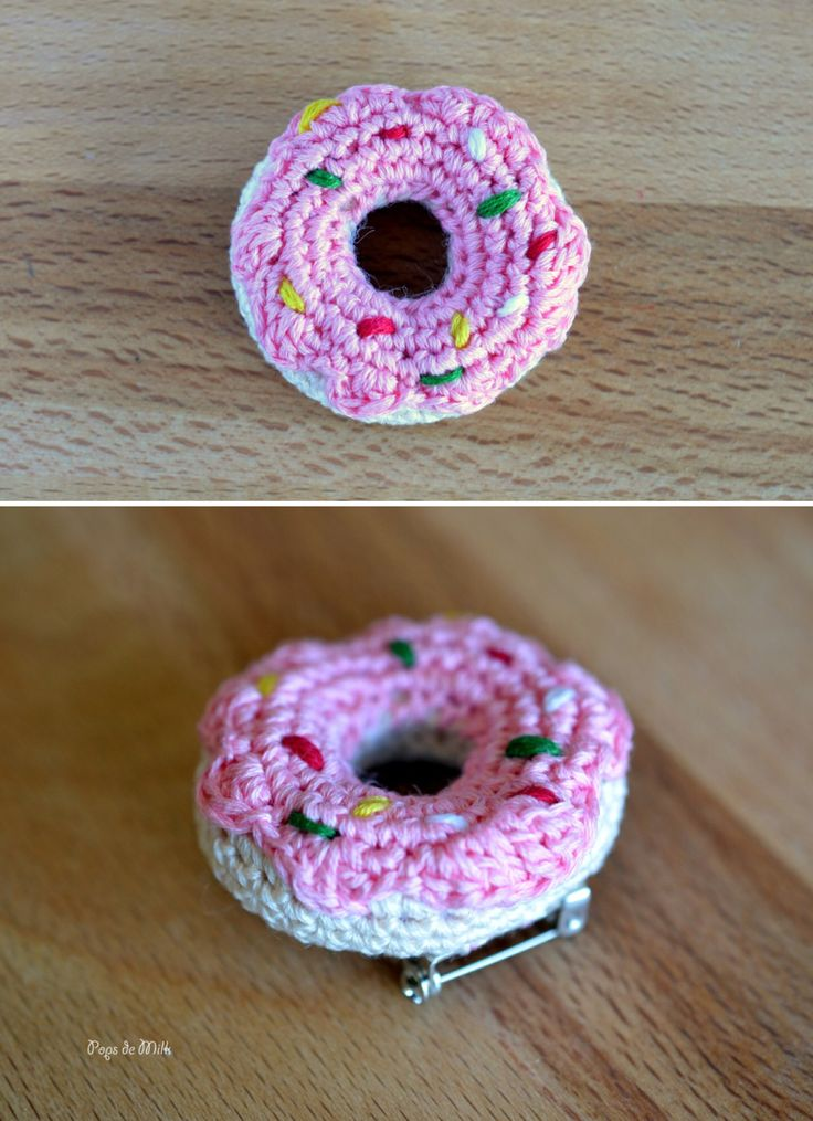'Crochet Donut Pin...!' (via Pops de Milk)