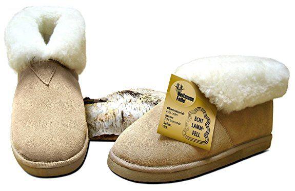 Lammfell-Hausschuhe, Größe:39;Farbe:beige