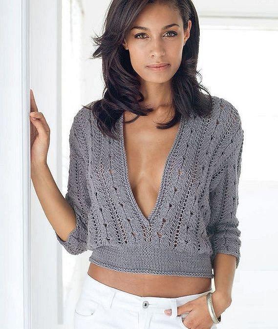 Pull col V profond en tricot