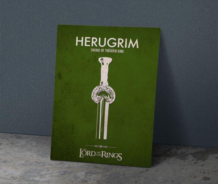( Herugrim ) Theoden 'in kılıcı - Metal Poster 40X28 cm ebatlarında javvuz…