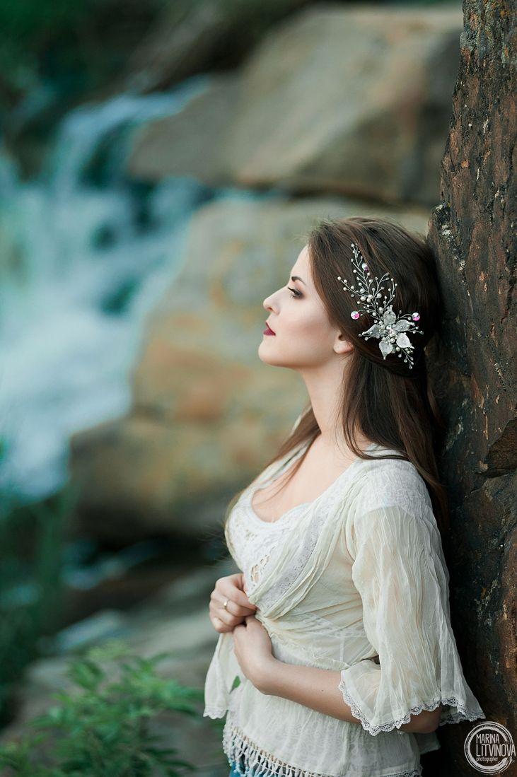 Украшение в прическу Веточка в прическу Свадебное украшение Украшение невесты Украшение для прически