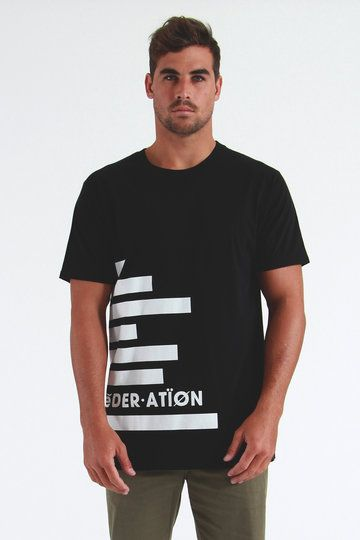 You'll be fizzing your shiz all over the latest summer drop from Federation. One look at the Aye Tee - Blocks, complete with stark graphics and a piano key print, and you'll be foaming like a can of dropped cola.