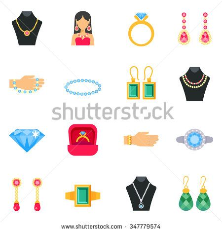 Jewelry icons set with earrings rings and bracelets flat isolated vector illustration